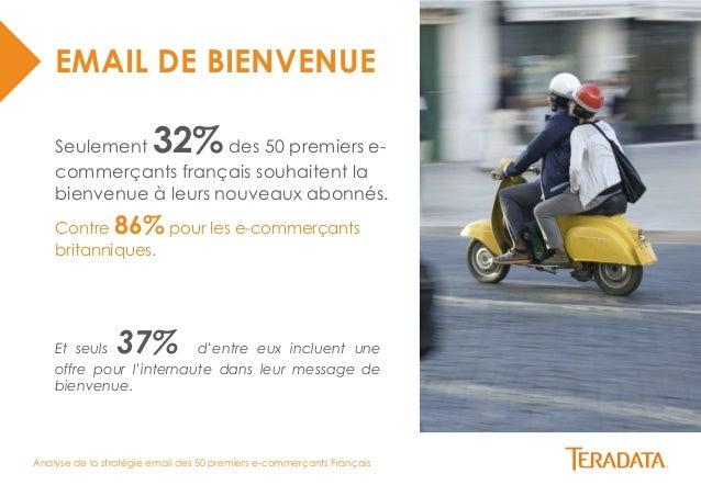 Analyse de la stratégie email des 50 premiers e-commerçants Français  EMAIL DE BIENVENUE  Seulement 32% des 50 premiers e-...