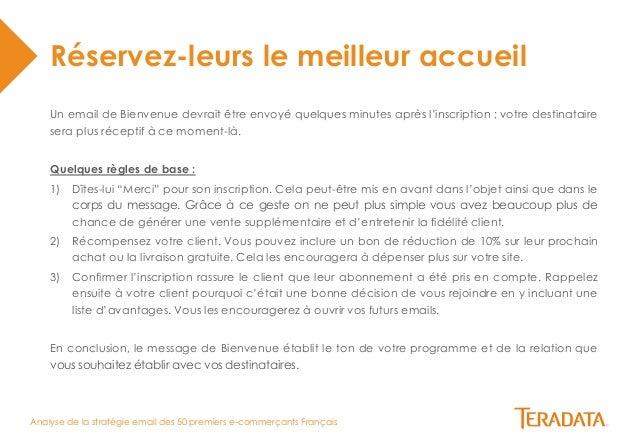 Analyse de la stratégie email des 50 premiers e-commerçants Français  Réservez-leurs le meilleur accueil  Un email de Bien...