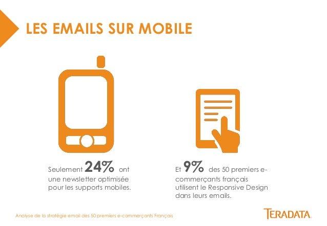 Analyse de la stratégie email des 50 premiers e-commerçants Français  LES EMAILS SUR MOBILE  Seulement 24% ont  une newsle...