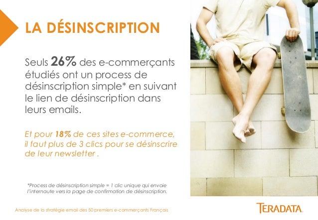 Analyse de la stratégie email des 50 premiers e-commerçants Français  LA DÉSINSCRIPTION  Seuls 26% des e-commerçants  étud...