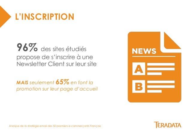 Analyse de la stratégie email des 50 premiers e-commerçants Français  L'INSCRIPTION  96% des sites étudiés  propose de s'i...