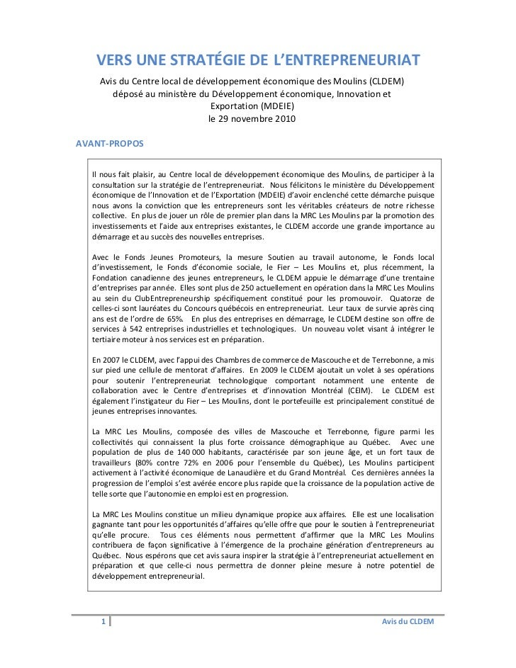 VERS UNE STRATÉGIE DE L'ENTREPRENEURIAT    Avis du Centre local de développement économique des Moulins (CLDEM)       dépo...