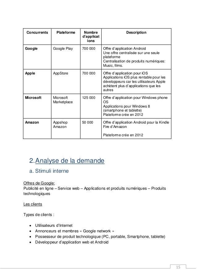 15 Concurrents Plateforme Nombre d'applicat ions Description Google Google Play 700 000 Offre d'application Android Une of...