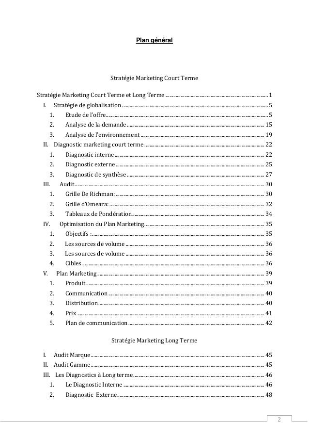 2 Plan général Stratégie Marketing Court Terme Stratégie Marketing Court Terme et Long Terme ................................
