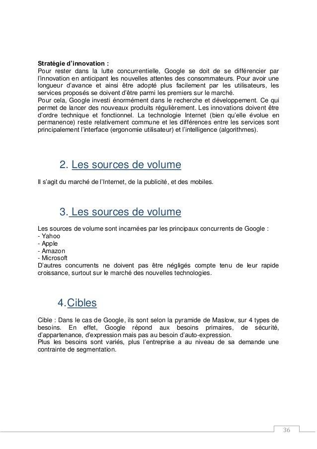 36 Stratégie d'innovation : Pour rester dans la lutte concurrentielle, Google se doit de se différencier par l'innovation ...