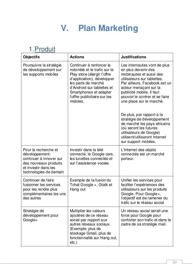 39 V. Plan Marketing 1.Produit Objectifs Actions Justifications Poursuivre la stratégie de développement sur les supports ...