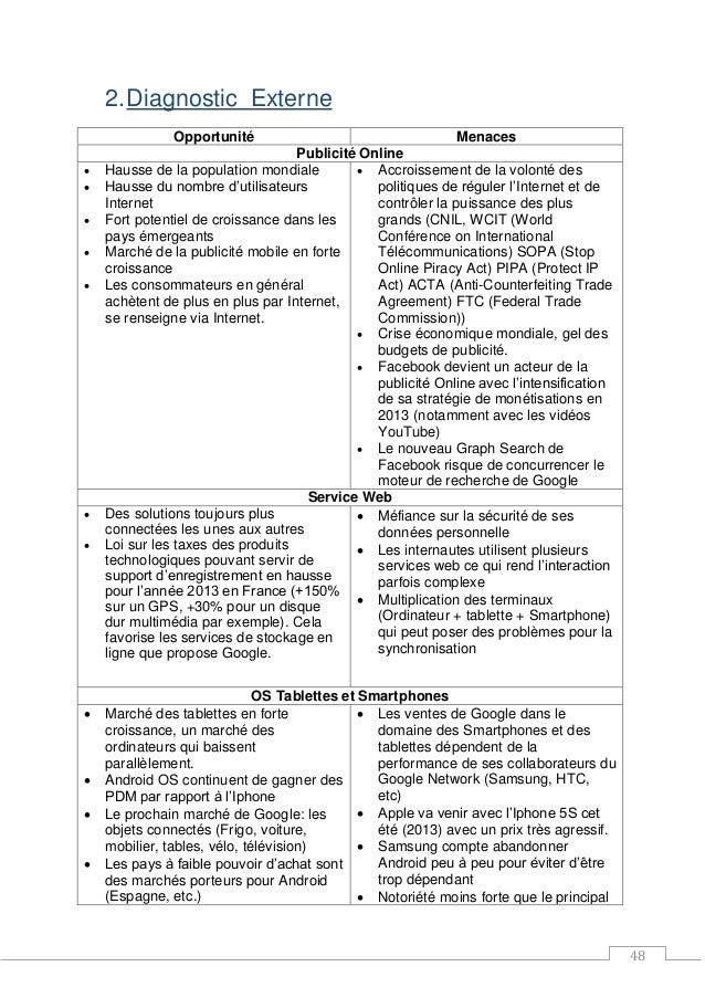 48 2.Diagnostic Externe Opportunité Menaces Publicité Online  Hausse de la population mondiale  Hausse du nombre d'utili...