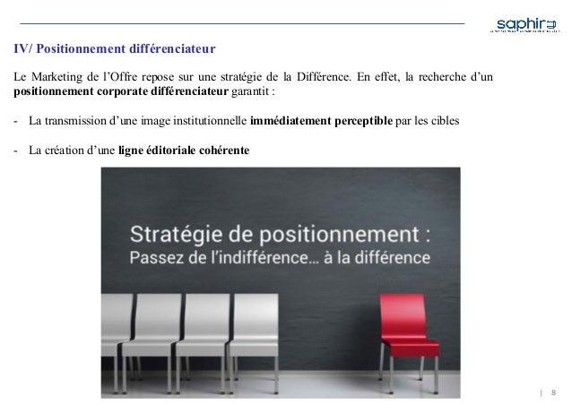 | 8 IV/ Positionnement différenciateur Le Marketing de l'Offre repose sur une stratégie de la Différence. En effet, la rec...