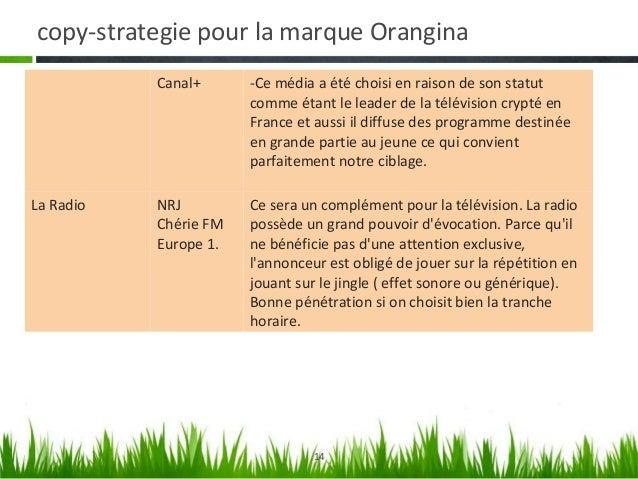 copy-strategie pour la marque Orangina La Presse           France football           -Ce média va favoriser la pénétration...
