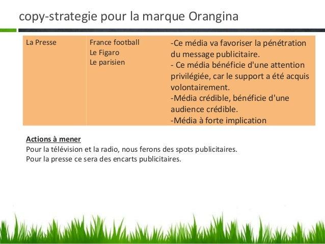 copy-strategie pour la marque Orangina• Choix des hors médias• Notre choix sest porté sur les hors médias suivants : les  ...