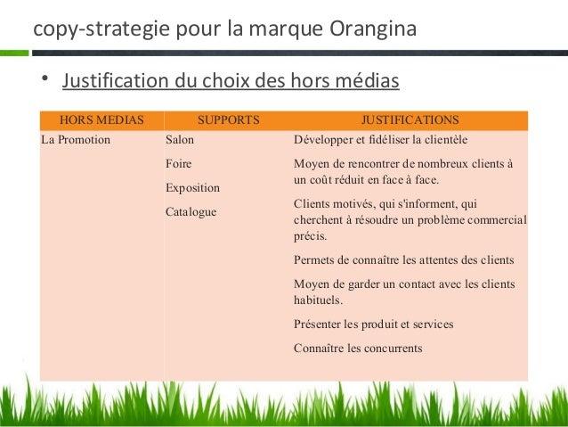 copy-strategie pour la marque Orangina                                            Renforcer limage de lentreprise         ...