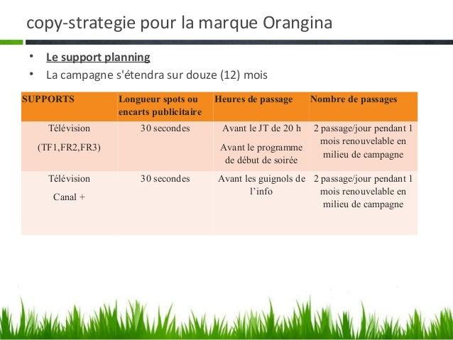 copy-strategie pour la marque OranginaSUPPORTS          Longueur spots ou      Heures de passage   Nombre de passages     ...