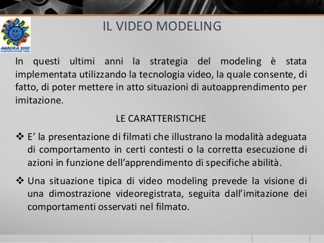 IL VIDEO MODELING In questi ultimi anni la strategia del modeling è stata implementata utilizzando la tecnologia video, la...