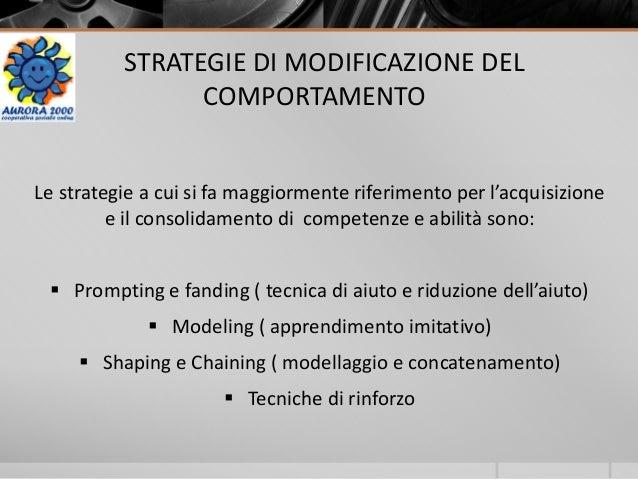 STRATEGIE DI MODIFICAZIONE DEL COMPORTAMENTO Le strategie a cui si fa maggiormente riferimento per l'acquisizione e il con...