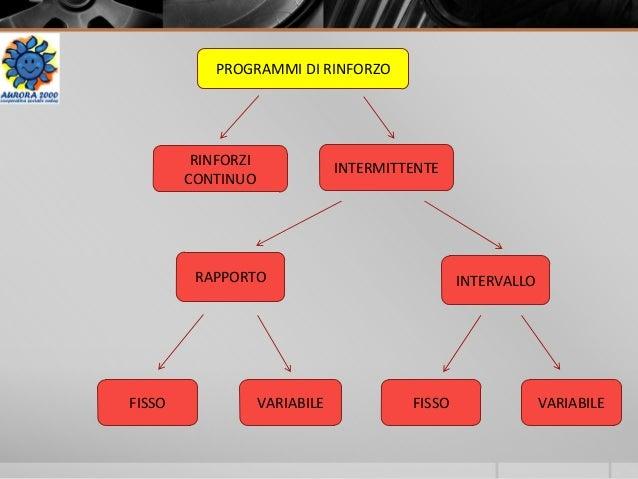 PROGRAMMI DI RINFORZO RINFORZI CONTINUO INTERMITTENTE RAPPORTO INTERVALLO FISSO VARIABILE FISSO VARIABILE