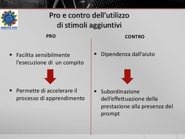 Pro e contro dell'utilizzo di stimoli aggiuntivi PRO CONTRO  Facilita sensibilmente l'esecuzione di un compito  Permette...