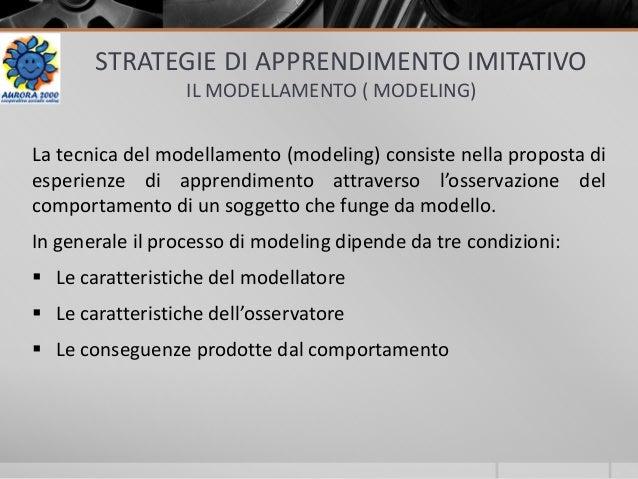 STRATEGIE DI APPRENDIMENTO IMITATIVO IL MODELLAMENTO ( MODELING) La tecnica del modellamento (modeling) consiste nella pro...