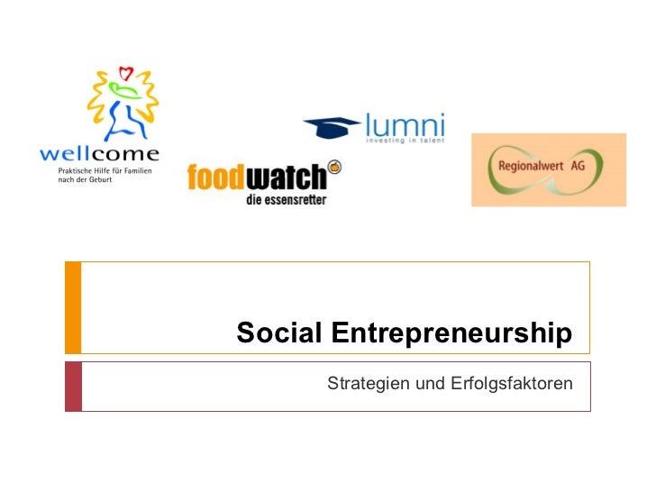 Social Entrepreneurship      Strategien und Erfolgsfaktoren