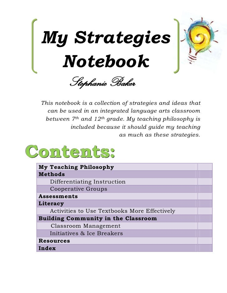 My Strategies   Notebook           Stephanie Baker This notebook is a collection of strategies and ideas that   can be use...