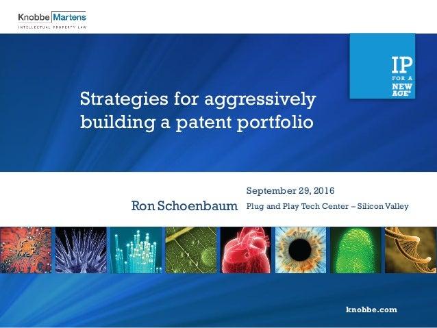 knobbe.com Strategies for aggressively building a patent portfolio Ron Schoenbaum September 29, 2016 Plug and Play Tech Ce...