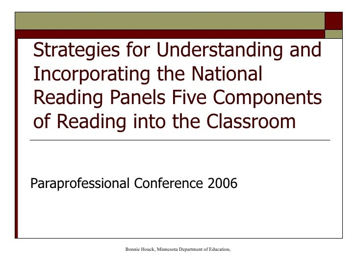 Strategies for Understanding and Incorporating the National Reading Panels Five Components of Reading into the Classroom P...