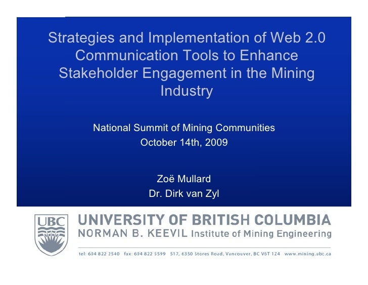 Strategies and Implementation of Web 2.0    Communication Tools to Enhance Stakeholder Engagement in the Mining           ...