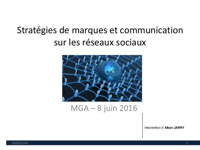Stratégies de marques et communication sur les réseaux sociaux MGA – 8 juin 2016 09/06/2016 1 Intervention d' Alban JARRY
