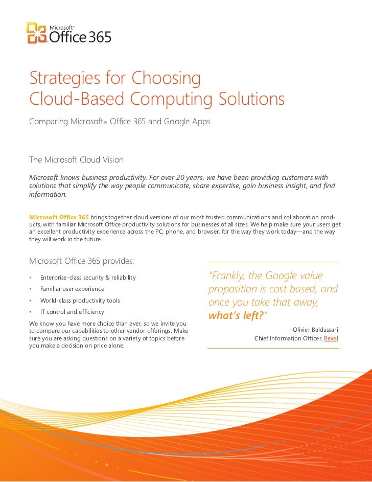 Strategiіes for ChoosiіngCloud-Based Computiіng SolutiіonsCompariіng Miіcrosoft®The Miіcrosoft Cloud ViіsiіonMiіcrosoft kn...