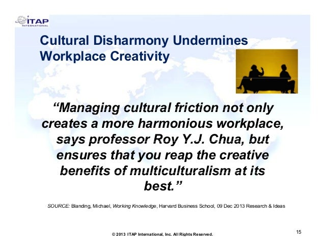 """Cultural Disharmony Undermines y Workplace Creativity  """"Managing cultural friction not only Managing creates a more harmon..."""