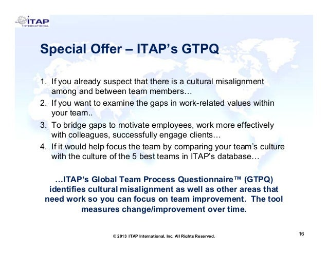 Special Offer – ITAP's GTPQ 1. 1 If you already suspect that there is a cultural misalignment l d t th t th i lt l i li t ...