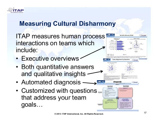 Measuring Cultural Disharmony ITAP measures human process interactions on teams which include: • Executive overviews • Bot...