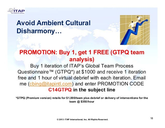 Avoid Ambient Cultural Disharmony… PROMOTION: Buy 1, get 1 FREE (GTPQ team analysis) Buy 1 iteration of ITAP's Global Team...