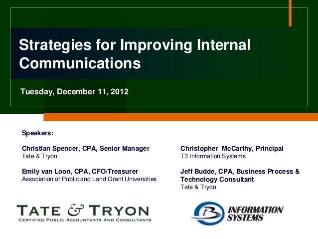 Strategies for Improving InternalCommunicationsTuesday, December 11, 2012Speakers:Christian Spencer, CPA, Senior Manager  ...