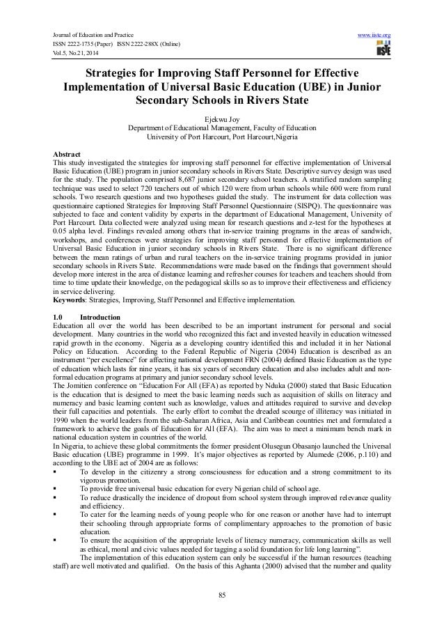 Journal of Education and Practice www.iiste.org ISSN 2222-1735 (Paper) ISSN 2222-288X (Online) Vol.5, No.21, 2014 85 Strat...