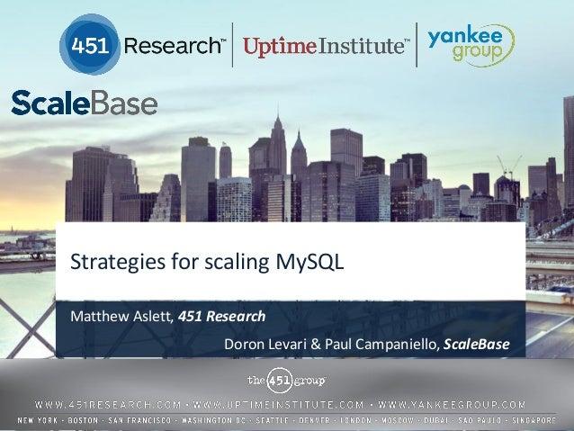Strategies for scaling MySQLMatthew Aslett, 451 Research                      Doron Levari & Paul Campaniello, ScaleBase  ...