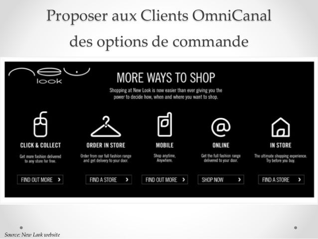 Proposer aux Clients OmniCanal des options de commande Source: New Look website