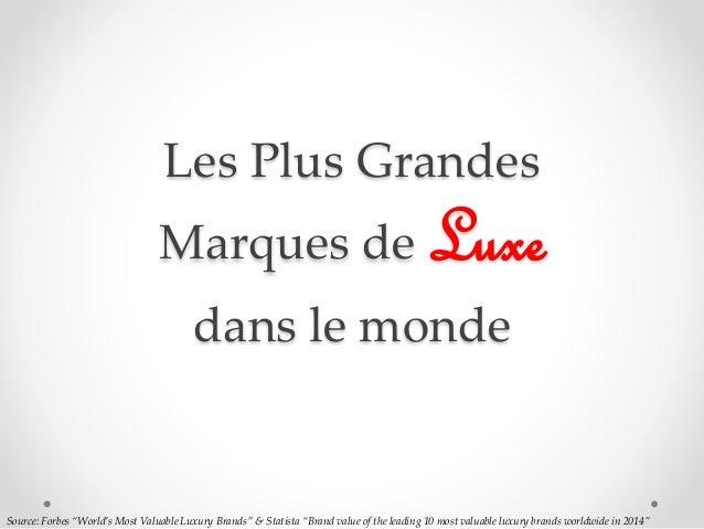 "Les Plus Grandes Marques de Luxe dans le monde Source: Forbes ""World's Most Valuable Luxury Brands"" & Statista ""Brand valu..."
