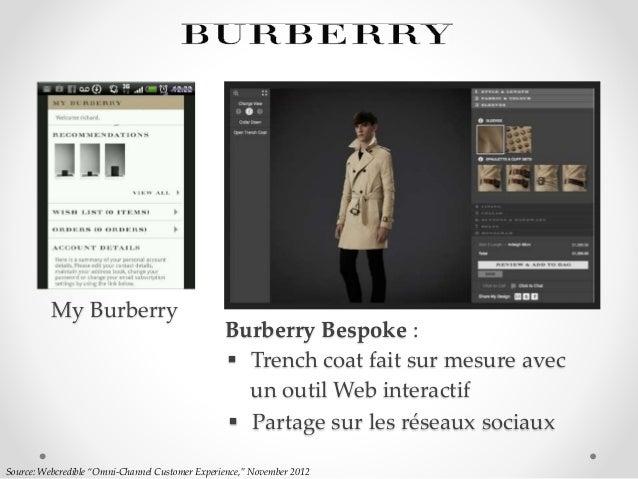 """Source: Webcredible """"Omni-Channel Customer Experience,"""" November 2012 Burberry Bespoke :  Partage sur les réseaux sociaux..."""