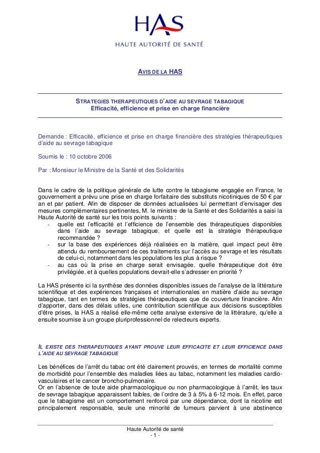 AVIS DE LA HAS              STRATEGIES THERAPEUTIQUES D'AIDE AU SEVRAGE TABAGIQUE                    Efficacité, efficienc...