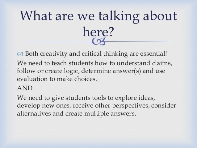critical thinking and creativity pdf