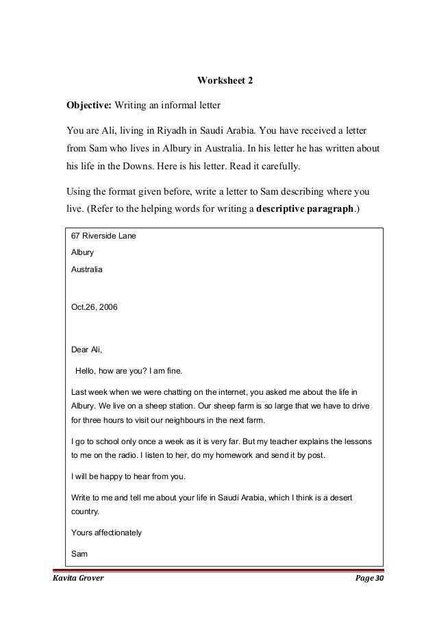 Informal Letter Format Australia.  30 Worksheet 2Objective Writing an informal Strategies to teach paragraph writing primary students Hand book 2