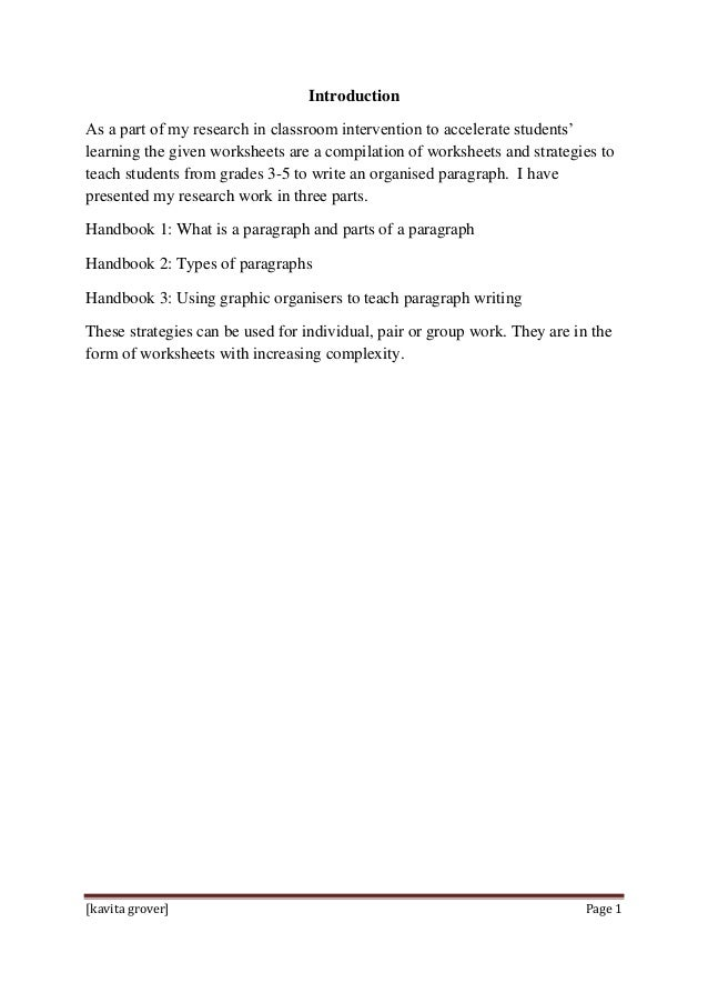 Strategies To Teach Paragraph Writing To Primary Students Handbook 1