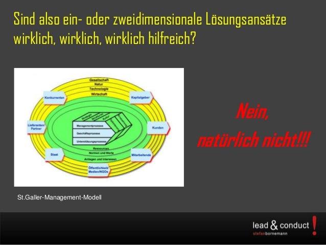 Sind also ein- oder zweidimensionale Lösungsansätzewirklich, wirklich, wirklich hilfreich?Nein,natürlich nicht!!!St.Galler...