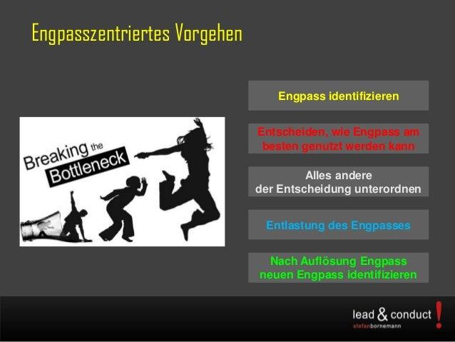 Engpasszentriertes VorgehenEngpass identifizierenEntscheiden, wie Engpass ambesten genutzt werden kannAlles andereder Ents...