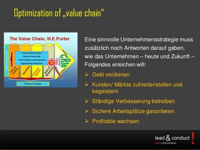 """Optimization of """"value chain""""Eine sinnvolle Unternehmensstrategie musszusätzlich noch Antworten darauf gaben,wie das Unter..."""
