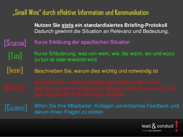 """""""Small Wins"""" durch effektive Information und KommunikationNutzen Sie stets ein standardisiertes Briefing-ProtokollDadurch ..."""