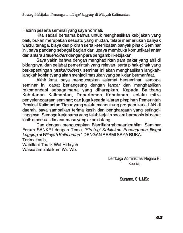 """SAMBUTAN KEPALA PKP2A III LAN Pada Seminar Forum SANKRI Tentang """"Strategi Kebijakan Penanganan Illegal Logging di Wilayah ..."""