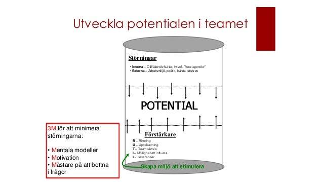 Utveckla potentialen i teamet POTENTIAL R – Riktning U – Uppskattning T – Teamkänsla I – Möjlighet att influera L - Levera...