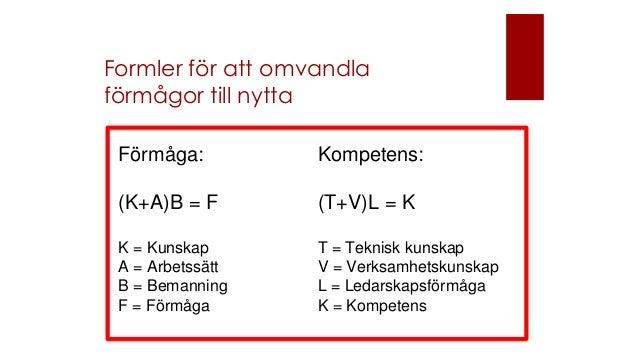 Formler för att omvandla förmågor till nytta Förmåga: (K+A)B = F K = Kunskap A = Arbetssätt B = Bemanning F = Förmåga Komp...