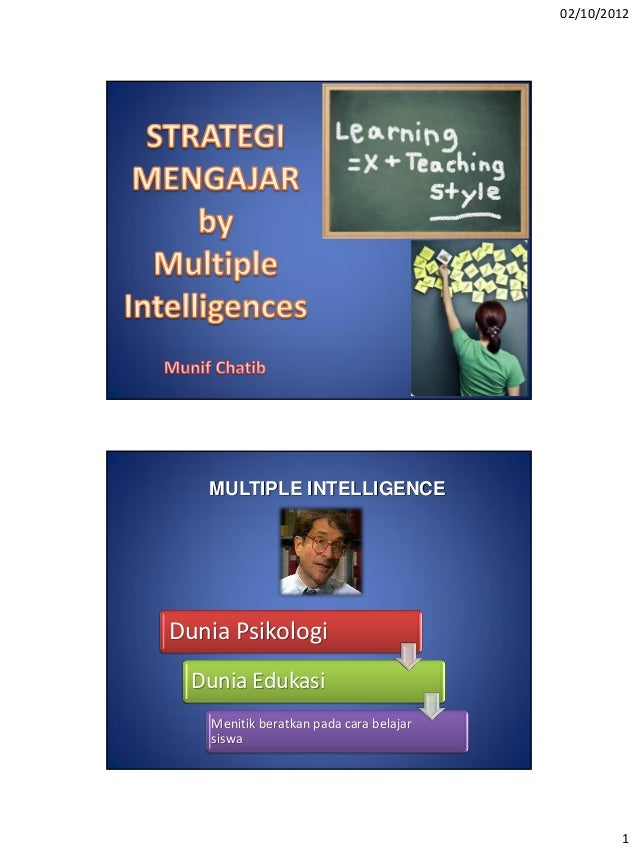 02/10/2012   MULTIPLE INTELLIGENCEDunia Psikologi  Dunia Edukasi    Menitik beratkan pada cara belajar    siswa           ...